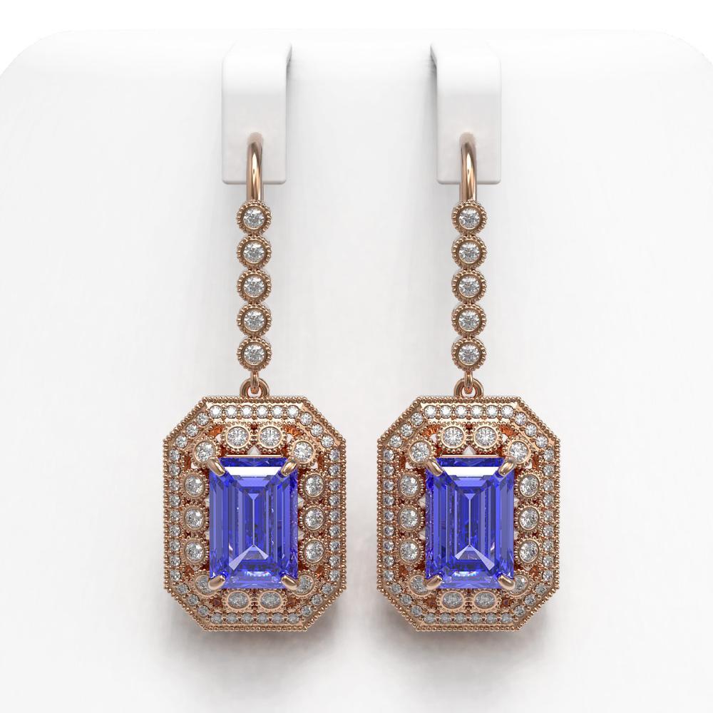 11.66 ctw Tanzanite & Diamond Earrings 14K Rose Gold - REF-484V7Y - SKU:43398