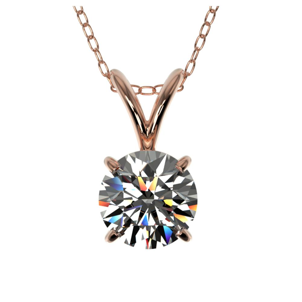 0.77 ctw H-SI/I Diamond Solitaire Necklace 10K Rose Gold - REF-88N5A - SKU:36740