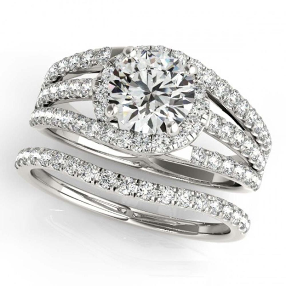 1.15 ctw VS/SI Diamond 2pc Wedding Set 14K White Gold - REF-114K5W - SKU:32006