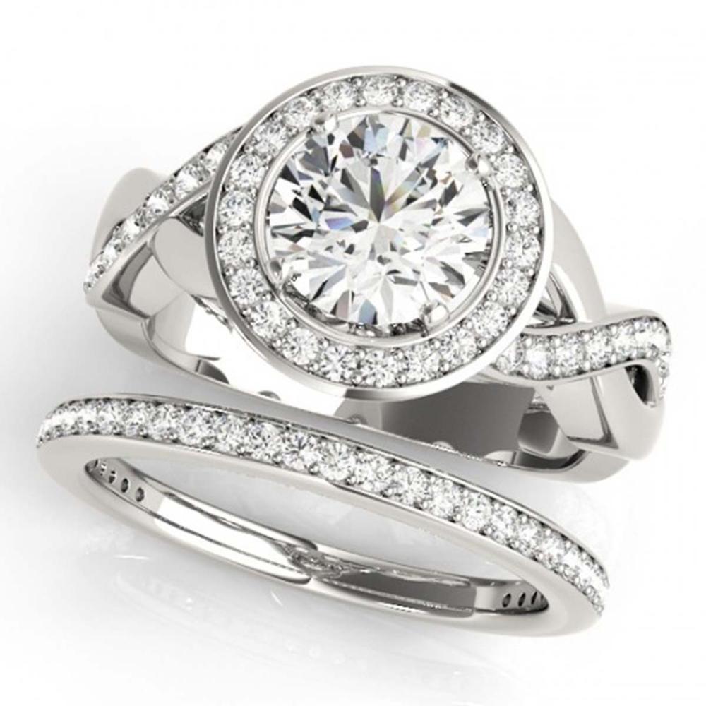 2.09 ctw VS/SI Diamond 2pc Wedding Set Halo 14K White Gold - REF-315N2A - SKU:30642