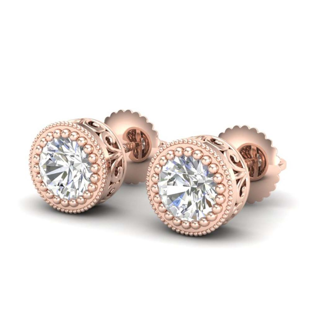 1.09 ctw VS/SI Diamond Solitaire Art Deco Stud Earrings 18K Rose Gold - REF-202R7K - SKU:36888