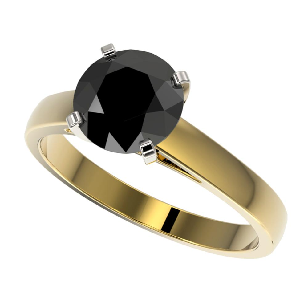 2.15 ctw Fancy Black Diamond Solitaire Ring 10K Yellow Gold - REF-58H5M - SKU:36557
