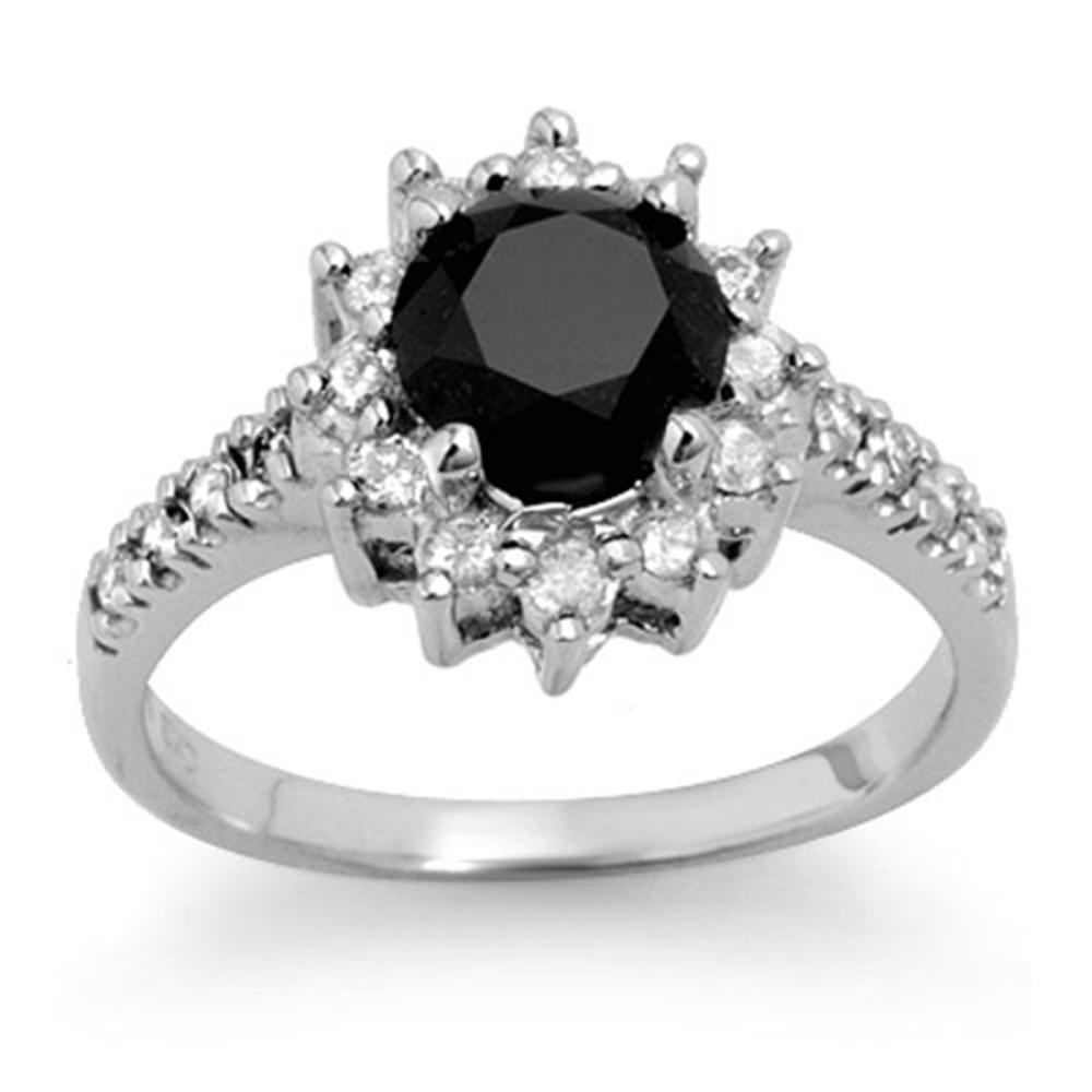 2.45 ctw VS Black & White Diamond Solitaire Ring 14K White Gold - REF-120H2M - SKU:14040