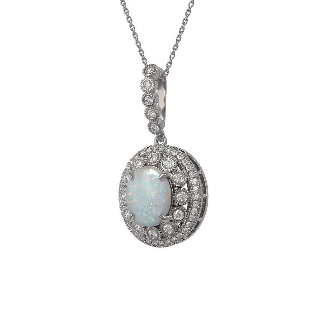 5.13 ctw Opal & Diamond Necklace 14K White Gold - REF-182Y2X - SKU:43835