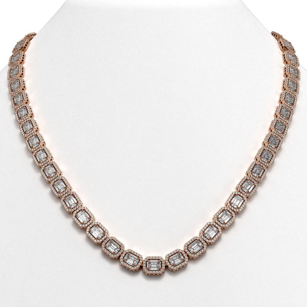 38.05 ctw Emerald Diamond Necklace 18K Rose Gold - REF-6060W2H - SKU:42750