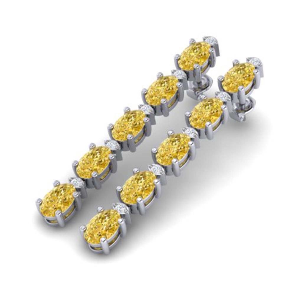 15.47 ctw Citrine & VS/SI Diamond Tennis Earrings 10K White Gold - REF-75R6K - SKU:29475