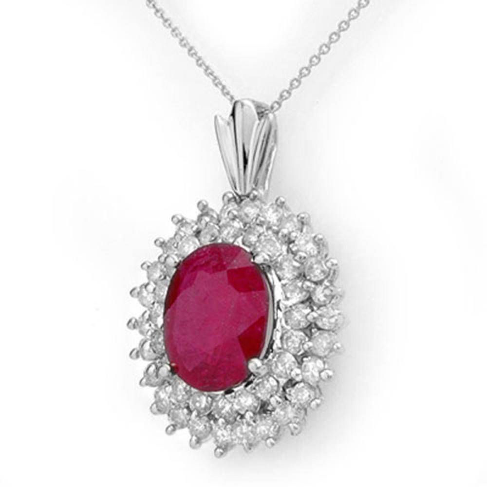 10.81 ctw Ruby & Diamond Pendant 18K White Gold - REF-263Y6X - SKU:12987