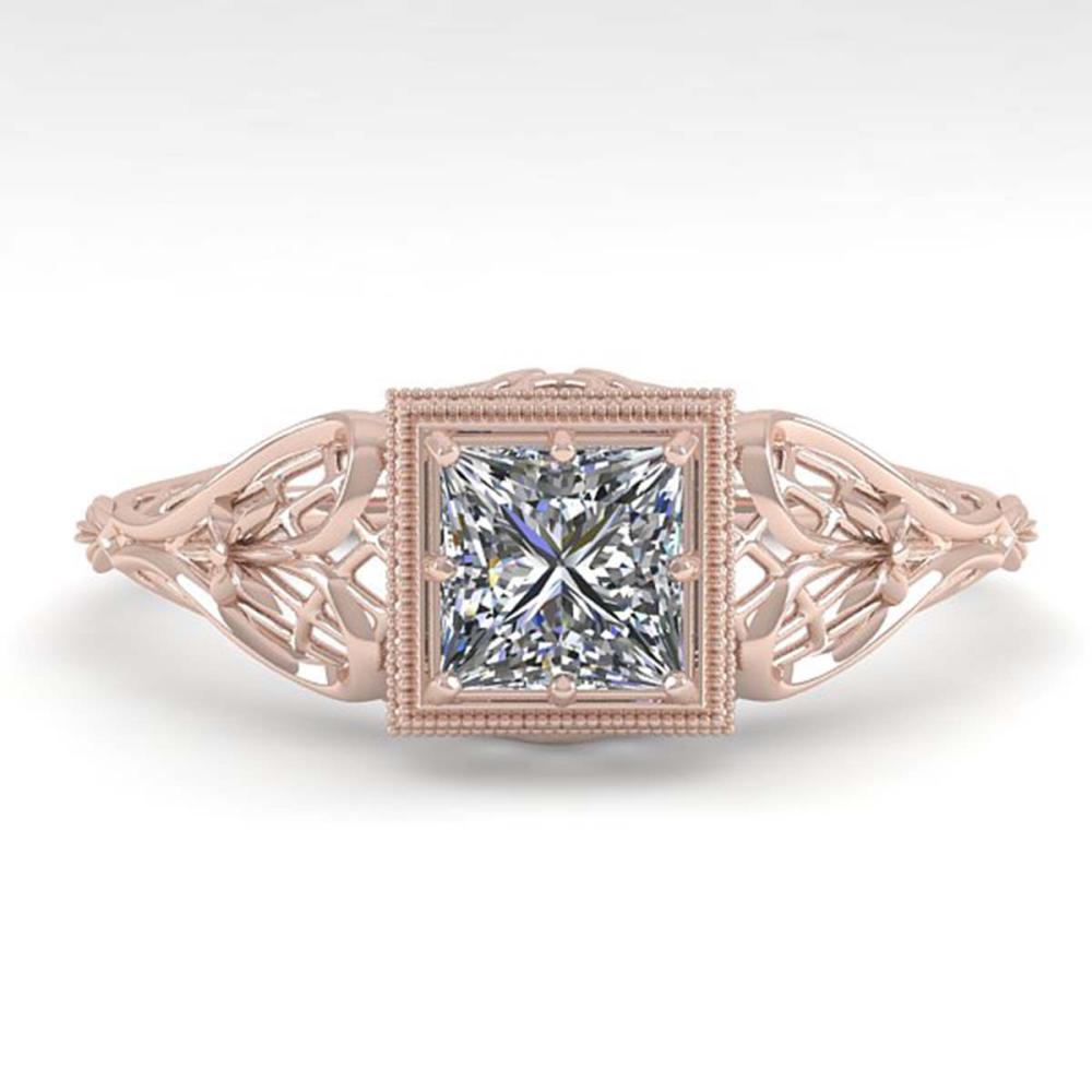 0.50 ctw VS/SI Princess Diamond Ring Deco 18K Rose Gold - REF-113W8H - SKU:36023