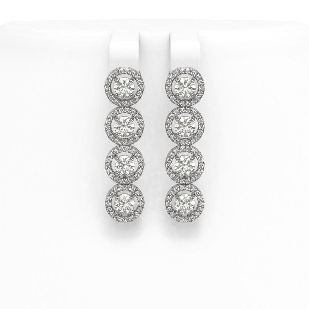 4.52 ctw Diamond Earrings 18K White Gold - REF-345V2Y - SKU:42998