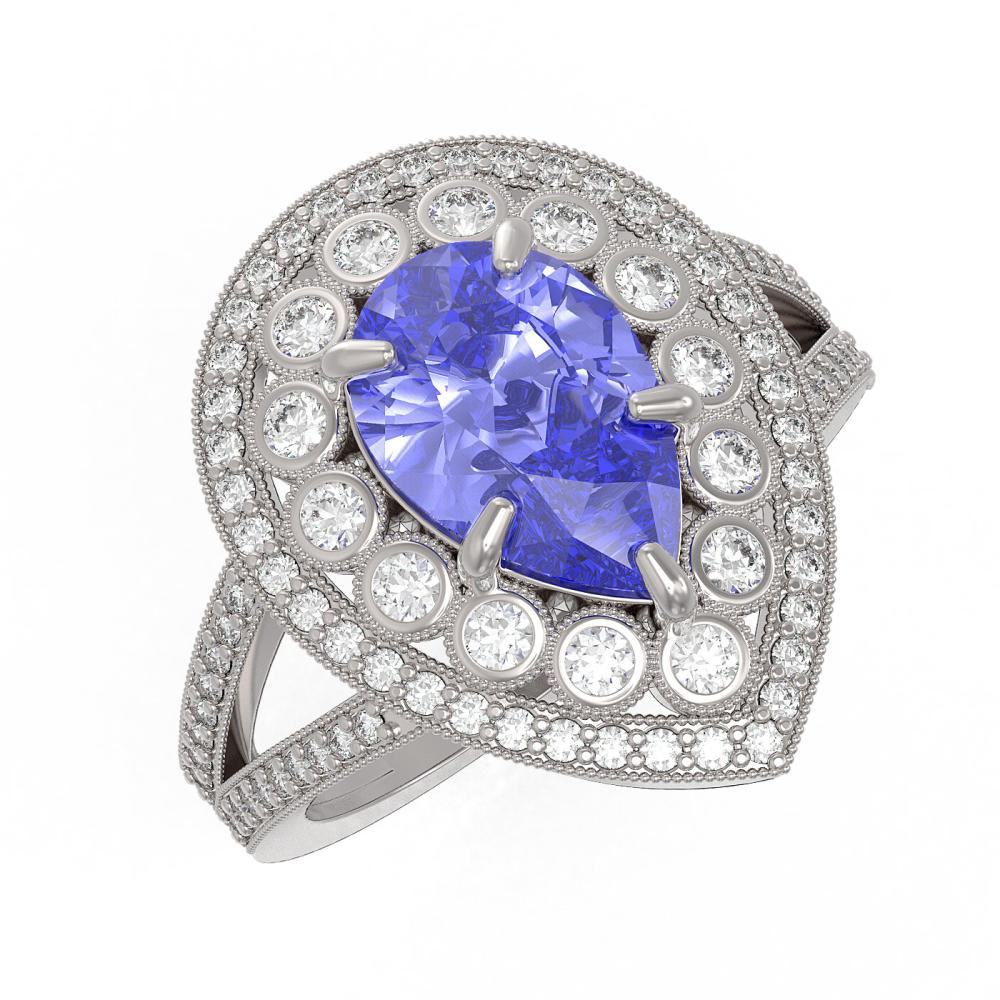 4.52 ctw Tanzanite & Diamond Ring 14K White Gold - REF-202H2M - SKU:43127