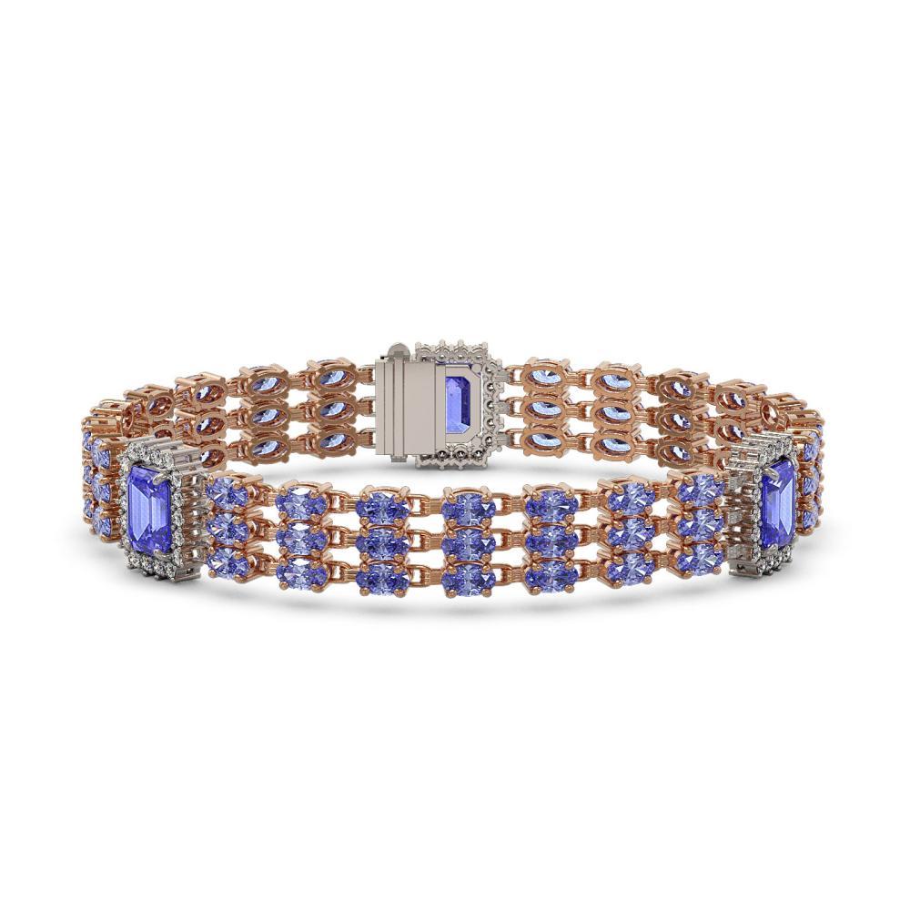 25.62 ctw Tanzanite & Diamond Bracelet 14K Rose Gold - REF-414W9H - SKU:45375