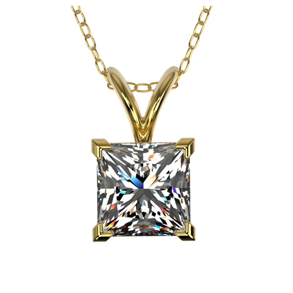 1 ctw VS/SI Princess Diamond Necklace 10K Yellow Gold - REF-292M5F - SKU:33197