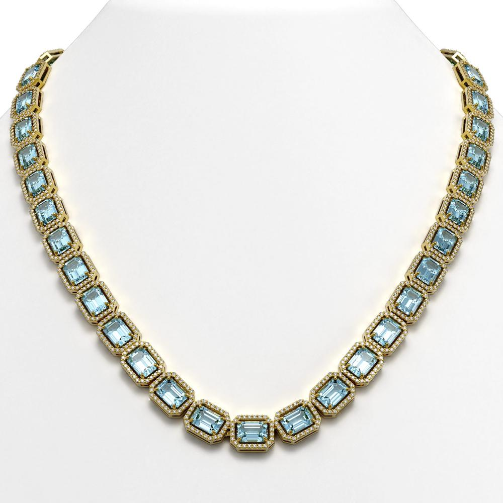 54.79 ctw Aquamarine & Diamond Halo Necklace 10K Yellow Gold - REF-896M9F - SKU:41356