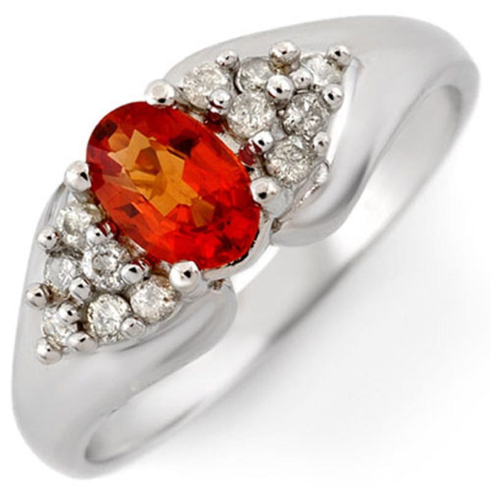 0.90 ctw Orange Sapphire & Diamond Ring 18K White Gold - REF-49R5K - SKU:10301