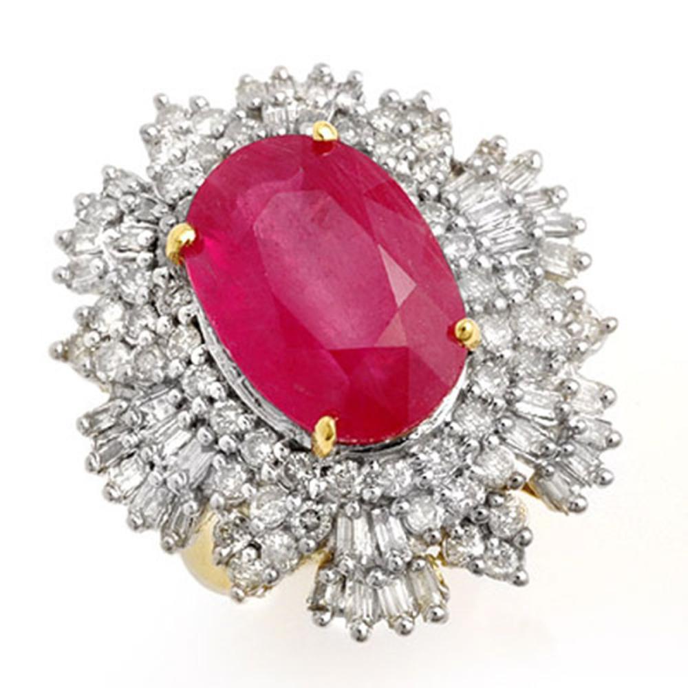 12.16 ctw Ruby & Diamond Ring 14K Yellow Gold - REF-418F2N - SKU:12966