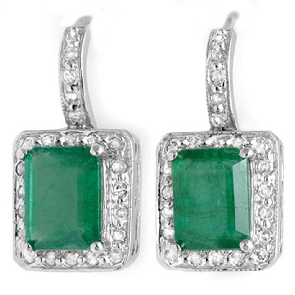 3.50 ctw Emerald & Diamond Earrings 18K White Gold - REF-84F5N - SKU:10206