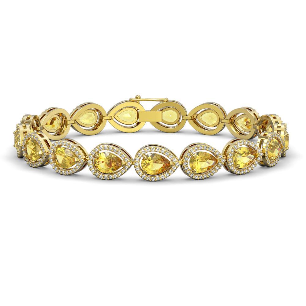 15.91 ctw Fancy Citrine & Diamond Halo Bracelet 10K Yellow Gold - REF-276X2R - SKU:41134