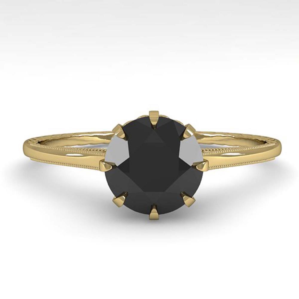 1.0 ctw Black Diamond Ring Vintage 18K Yellow Gold - REF-42V2Y - SKU:35746