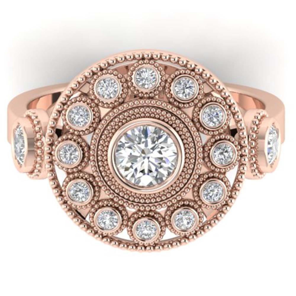 0.85 ctw VS/SI Diamond Art Deco 3 Stone Ring 14K Rose Gold - REF-107K3W - SKU:30472