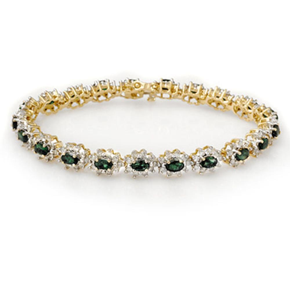 9.42 ctw Emerald & Diamond Bracelet 14K Yellow Gold - REF-345M5F - SKU:13991