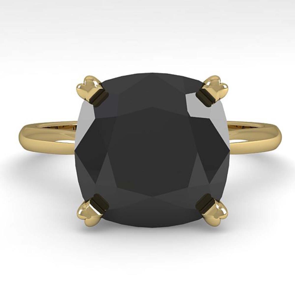 6.0 ctw Cushion Black Diamond Ring 18K Yellow Gold - REF-133F6N - SKU:32461