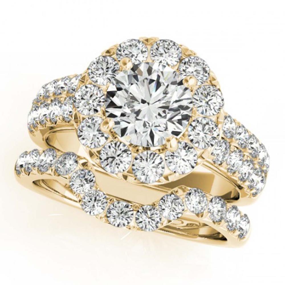 2.3 ctw VS/SI Diamond 2pc Wedding Set Halo 14K Yellow Gold - REF-203R2K - SKU:30887