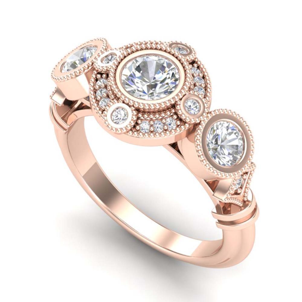 1.51 ctw VS/SI Diamond Solitaire Art Deco 3 Stone Ring 18K Rose Gold - REF-300Y2X - SKU:36987