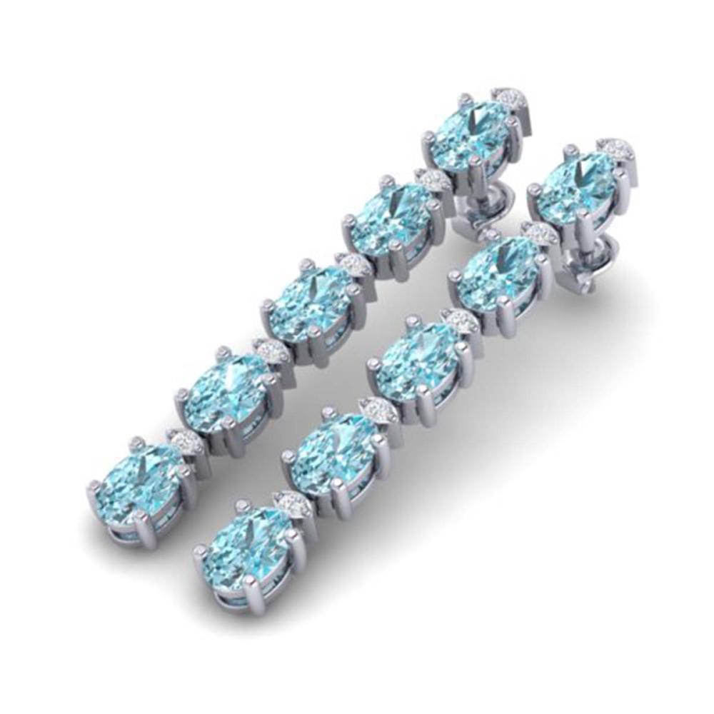 15.47 ctw Sky Blue Topaz & VS/SI Diamond Earrings 10K White Gold - REF-81K8W - SKU:29494