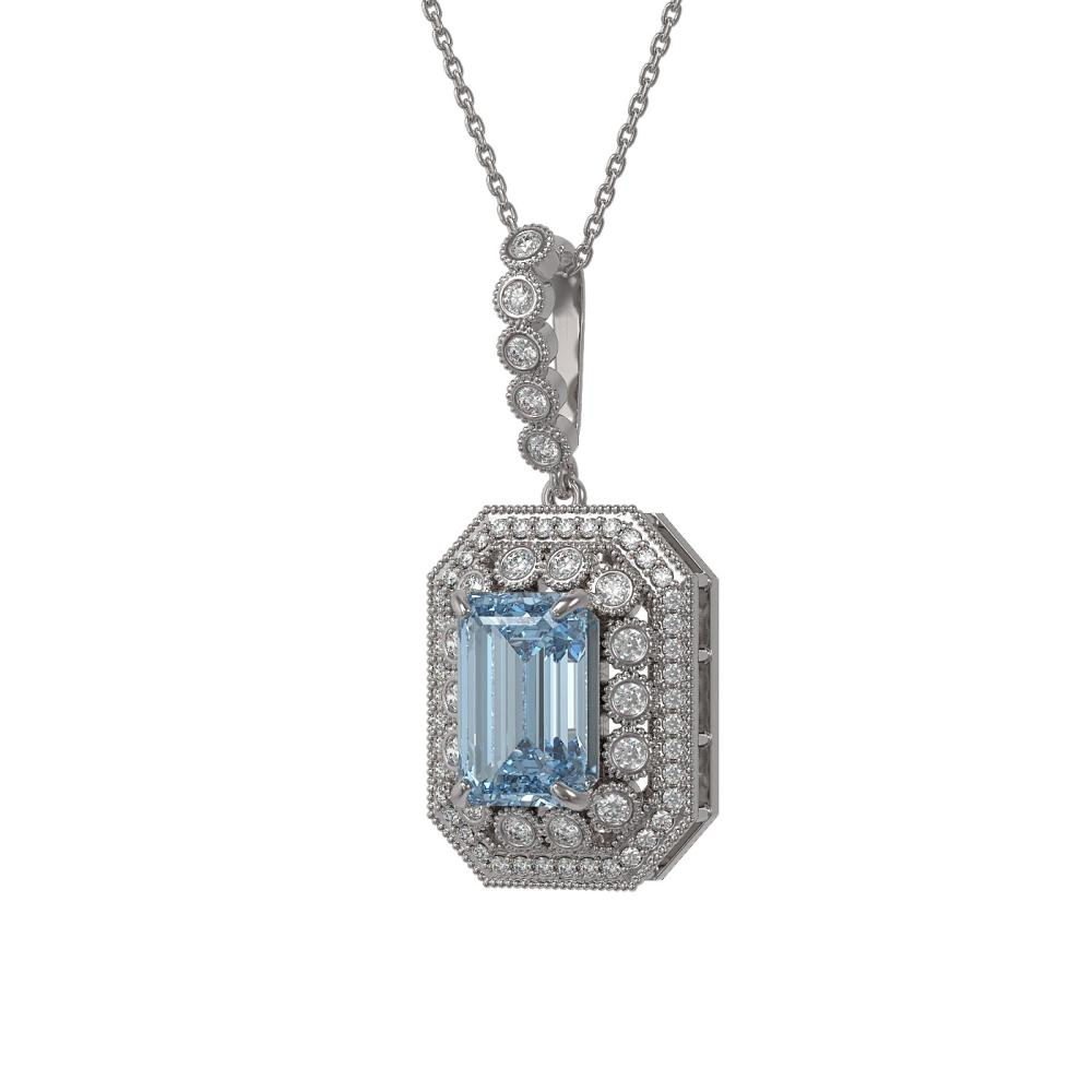 5.66 ctw Aquamarine & Diamond Necklace 14K White Gold - REF-166W7H - SKU:43448