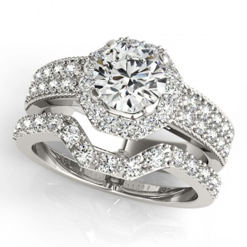 1.69 ctw VS/SI Diamond 2pc Wedding Set Halo 14K White Gold - REF-307F3N - SKU:31325