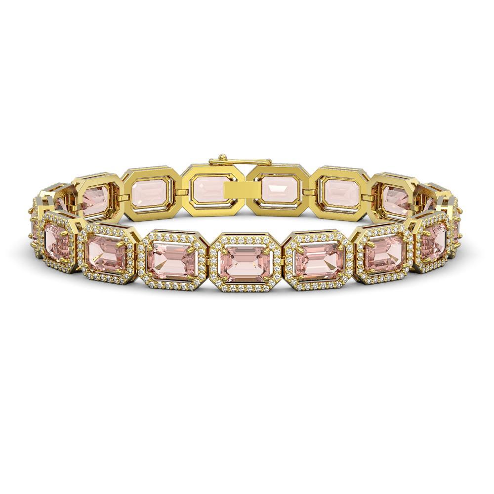 22.81 ctw Morganite & Diamond Halo Bracelet 10K Yellow Gold - REF-569K6W - SKU:41392