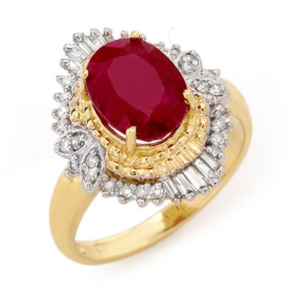 3.24 ctw Ruby & Diamond Ring 14K Yellow Gold - REF-72X7R - SKU:13065