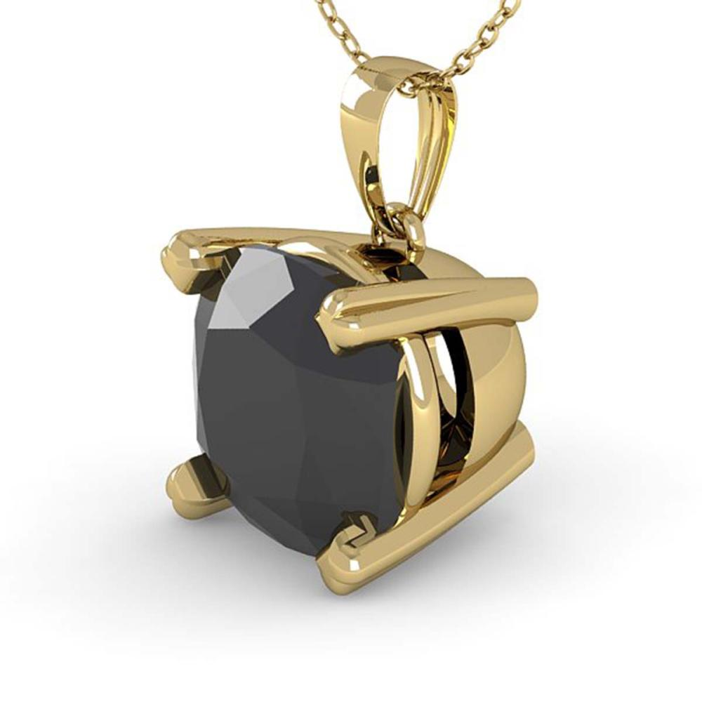 3 ctw Cushion Black Diamond Necklace 14K Yellow Gold - REF-65X7R - SKU:38441