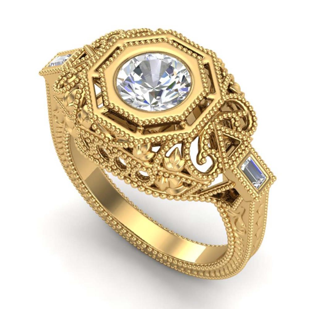 1.13 ctw VS/SI Diamond Solitaire Art Deco Ring 18K Yellow Gold - REF-360Y2X - SKU:37048
