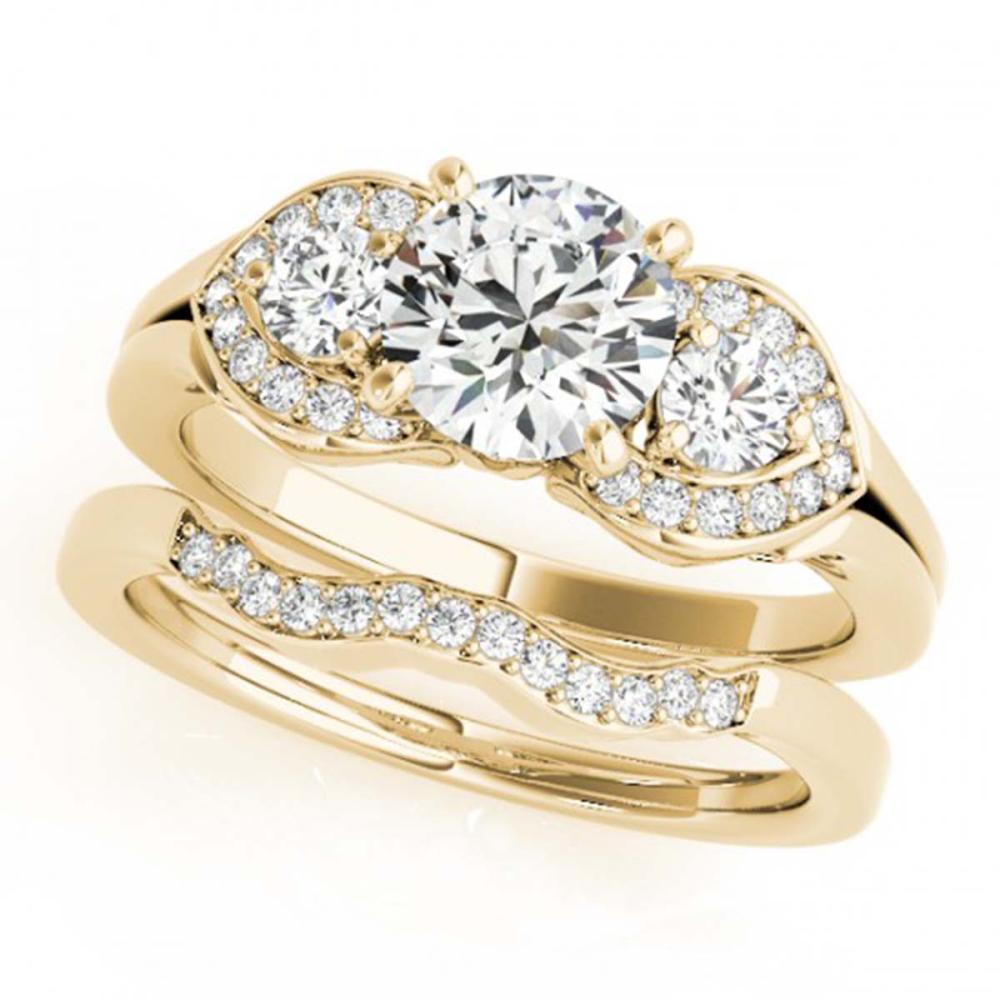 1.80 ctw VS/SI Diamond 3 Stone 2pc Wedding Set 14K Yellow Gold - REF-390H8M - SKU:32020