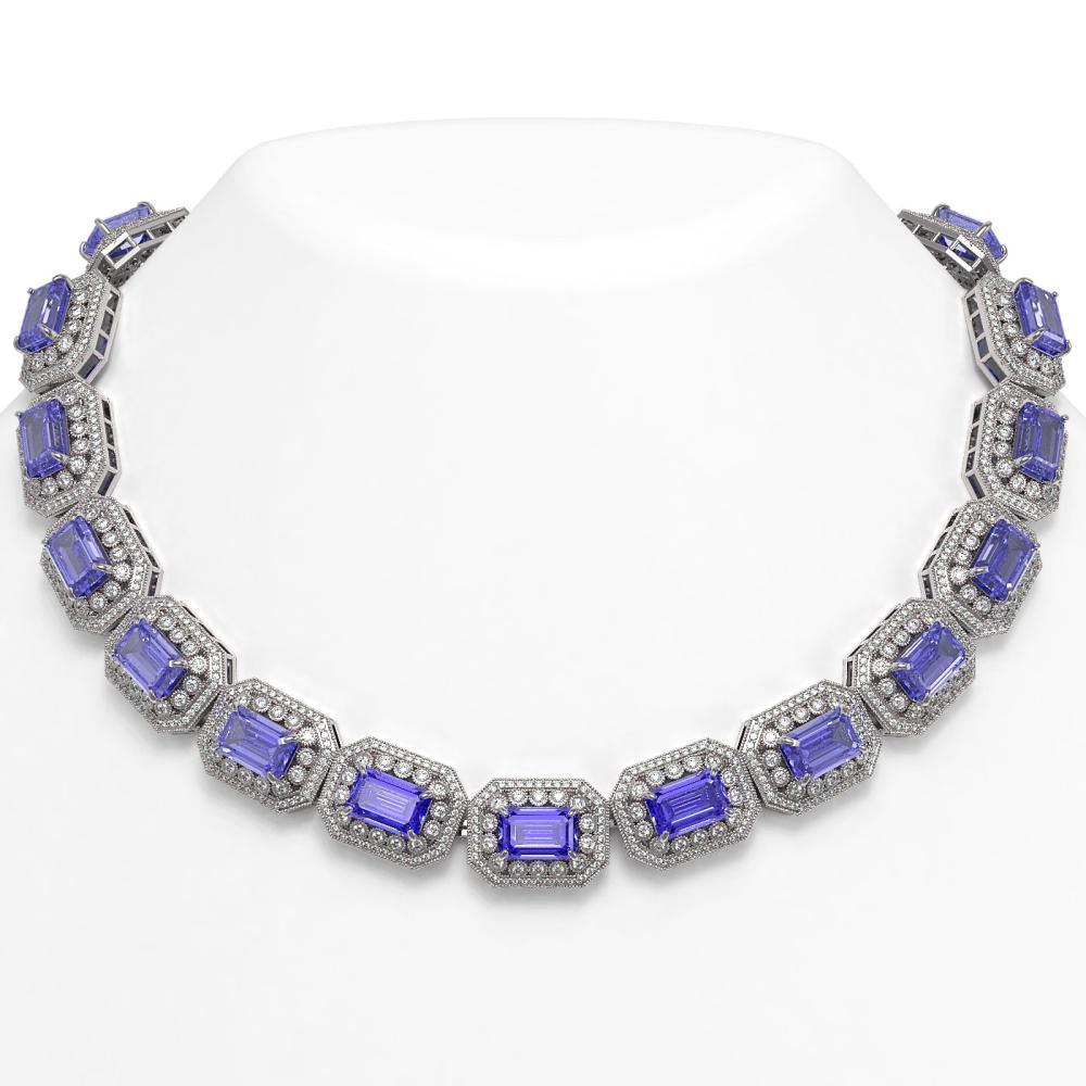 112.65 ctw Tanzanite & Diamond Necklace 14K White Gold - REF-3892A4V - SKU:43469