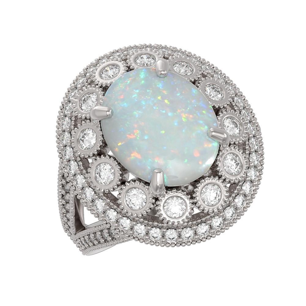 5.28 ctw Opal & Diamond Ring 14K White Gold - REF-191M3F - SKU:43754