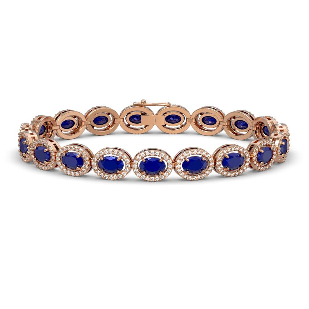 15.2 ctw Sapphire & Diamond Halo Bracelet 10K Rose Gold - REF-244A2V - SKU:40458