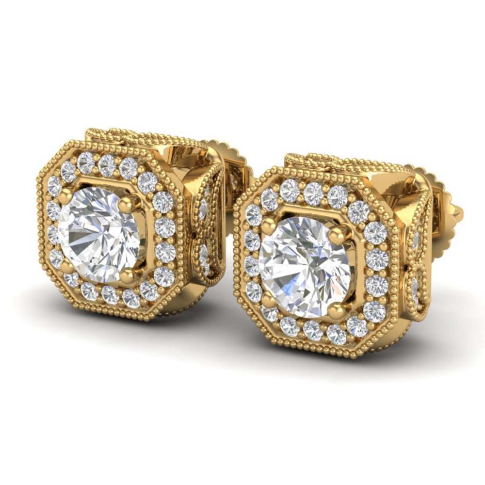 2.75 ctw VS/SI Diamond Solitaire Art Deco Stud Earrings 18K Yellow Gold - REF-472F7N - SKU:37324