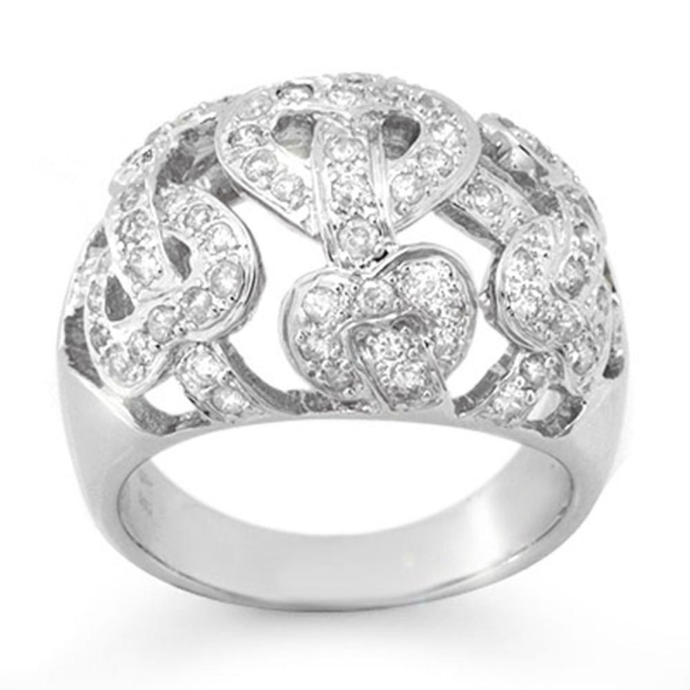 0.85 ctw VS/SI Diamond Ring 18K White Gold - REF-135R3K - SKU:13107