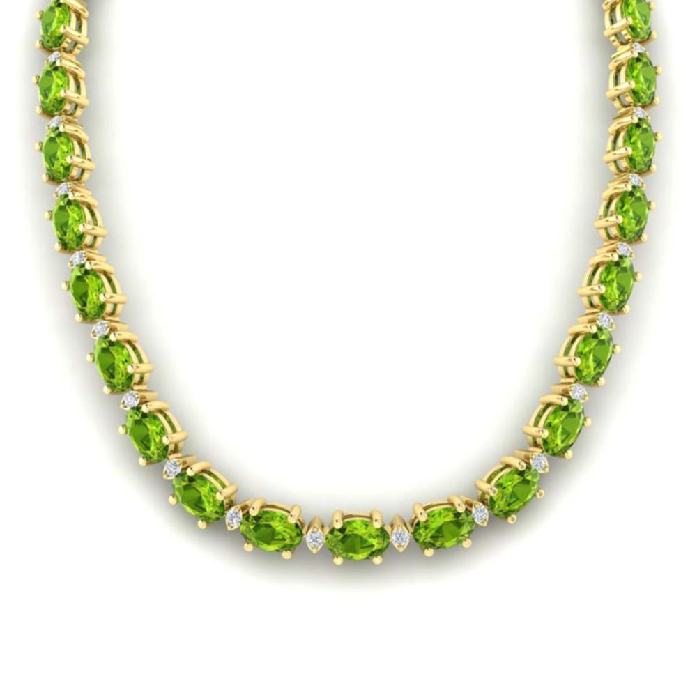 46.5 ctw Peridot & VS/SI Diamond Eternity Necklace 10K Yellow Gold - REF-275X3R - SKU:29430