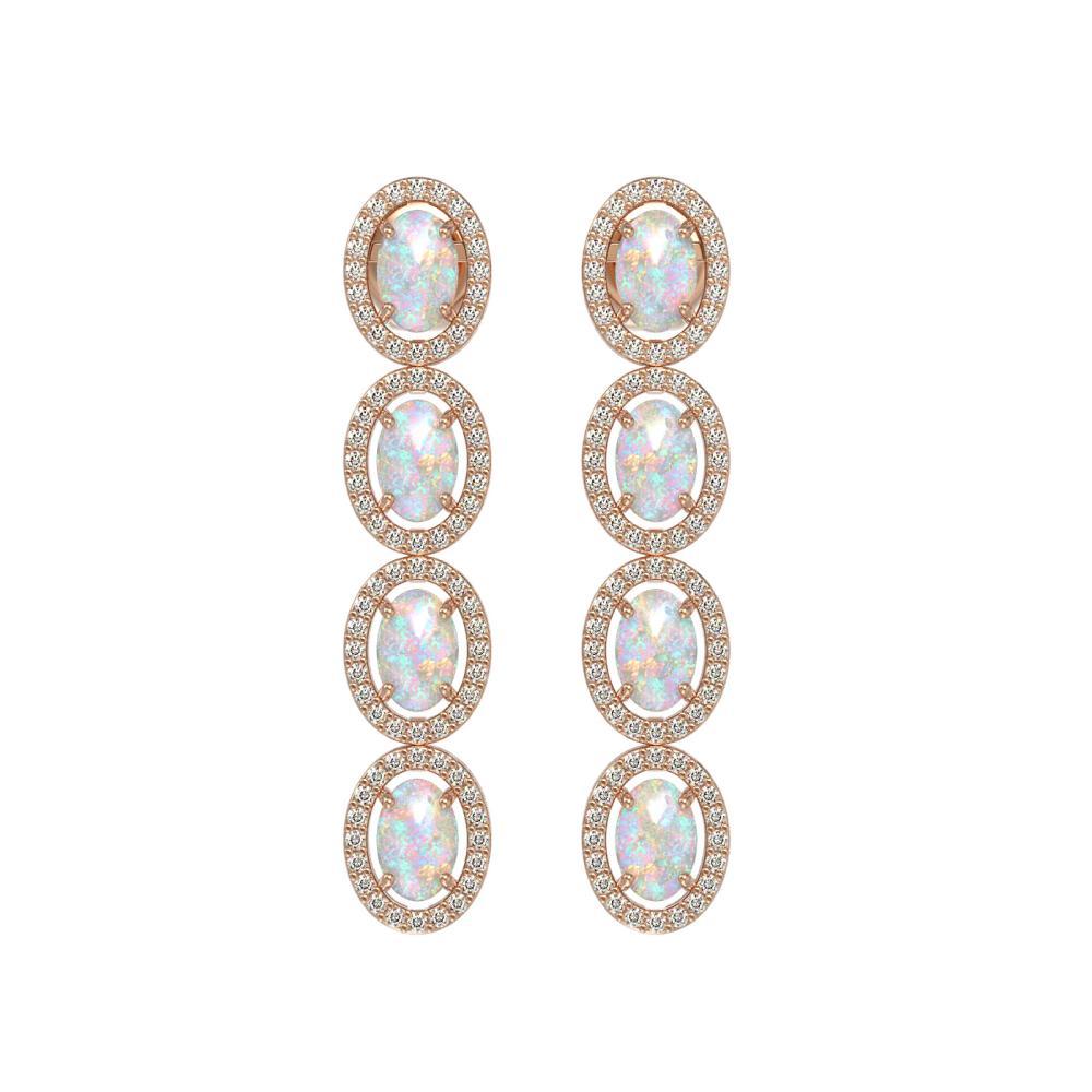 4.05 ctw Opal & Diamond Halo Earrings Rose 10K Rose Gold - REF-125K5W - SKU:40518
