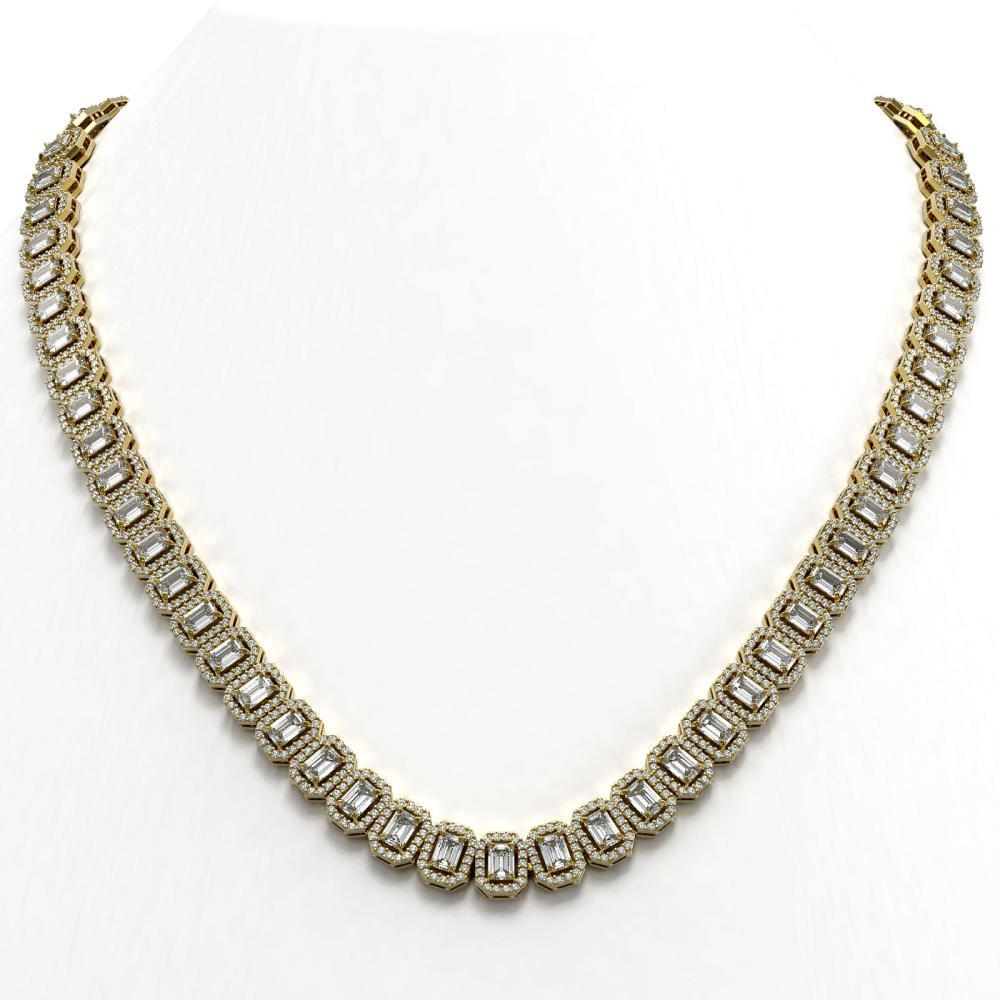 30.73 ctw Emerald Diamond Necklace 18K Yellow Gold - REF-3606Y4X - SKU:43111