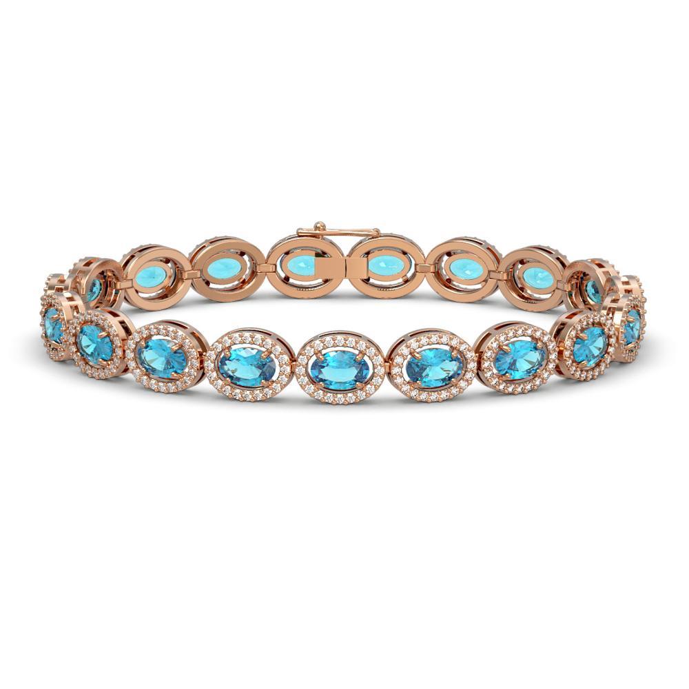 14.82 ctw Swiss Topaz & Diamond Halo Bracelet 10K Rose Gold - REF-230K4W - SKU:40485