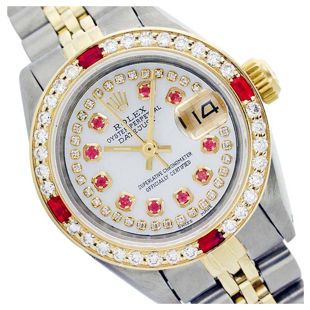 Rolex Ladies Two Tone 14K Gold/SS, Diam/Ruby Dial & Diam/Ruby Bezel, Sapphire Crystal - REF-446N5A