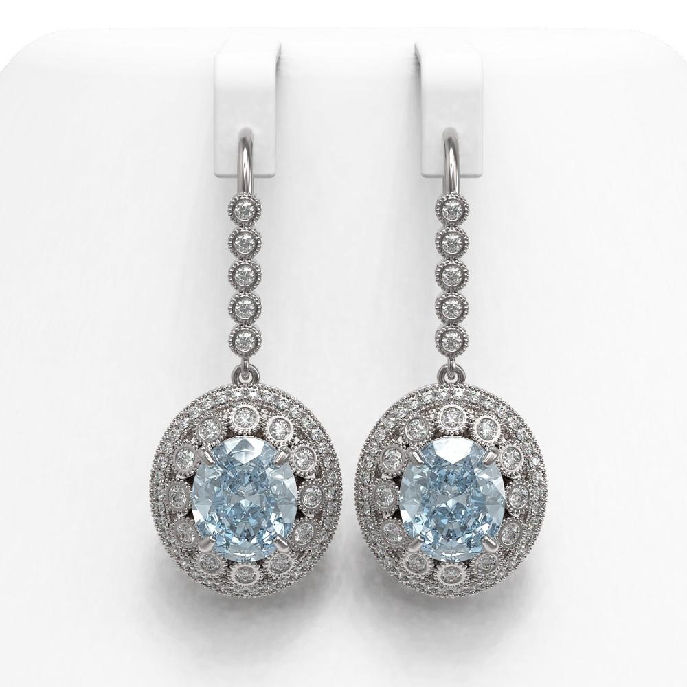 13.62 ctw Aquamarine & Diamond Earrings 14K White Gold - REF-439V3Y - SKU:43775
