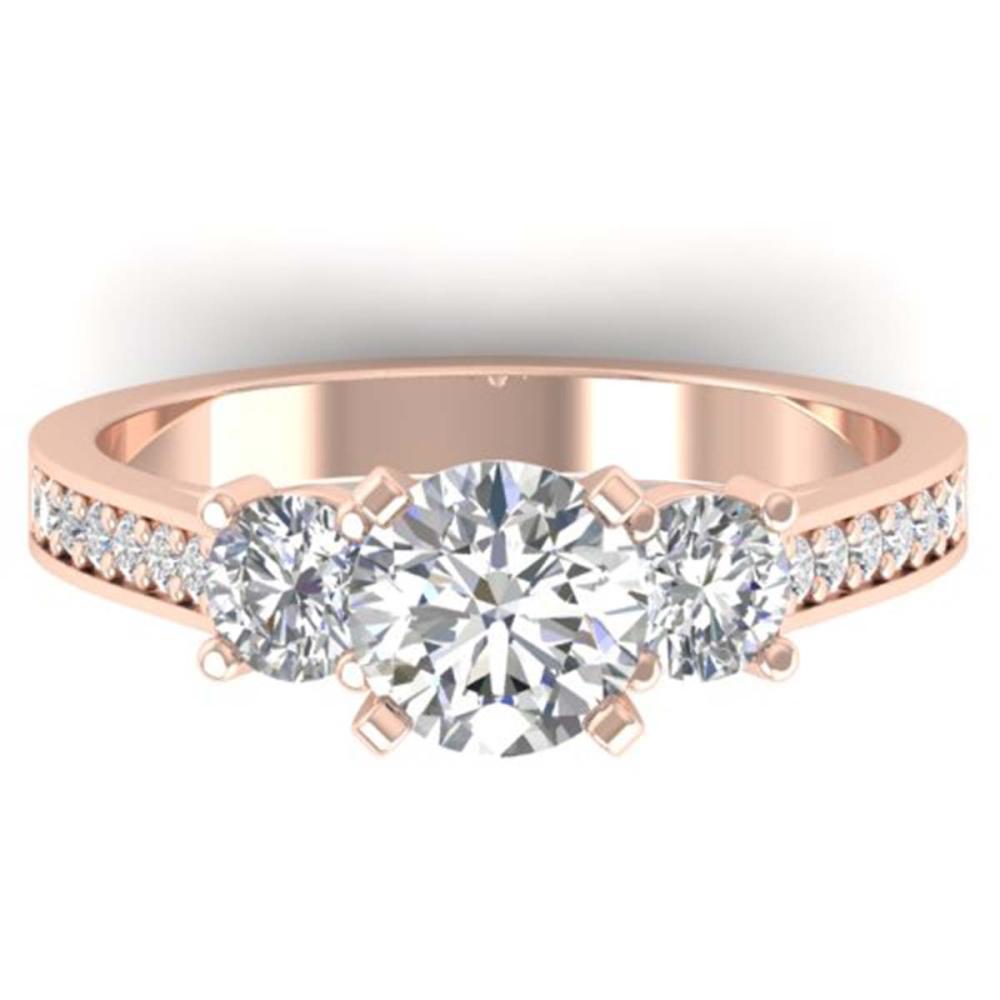 1.75 ctw VS/SI Diamond 3 Stone Ring 14K Rose Gold - REF-341R3K - SKU:30388