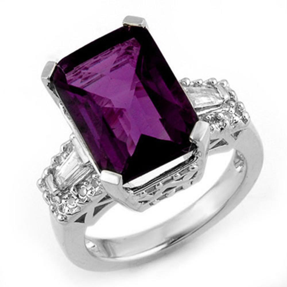 9.55 ctw Amethyst & Diamond Ring 14K White Gold - REF-105V5Y - SKU:11753