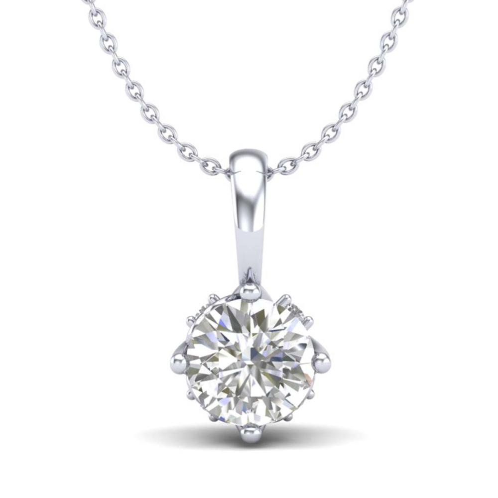 0.62 ctw VS/SI Diamond Solitaire Art Deco Stud Necklace 18K White Gold - REF-101W8H - SKU:37022