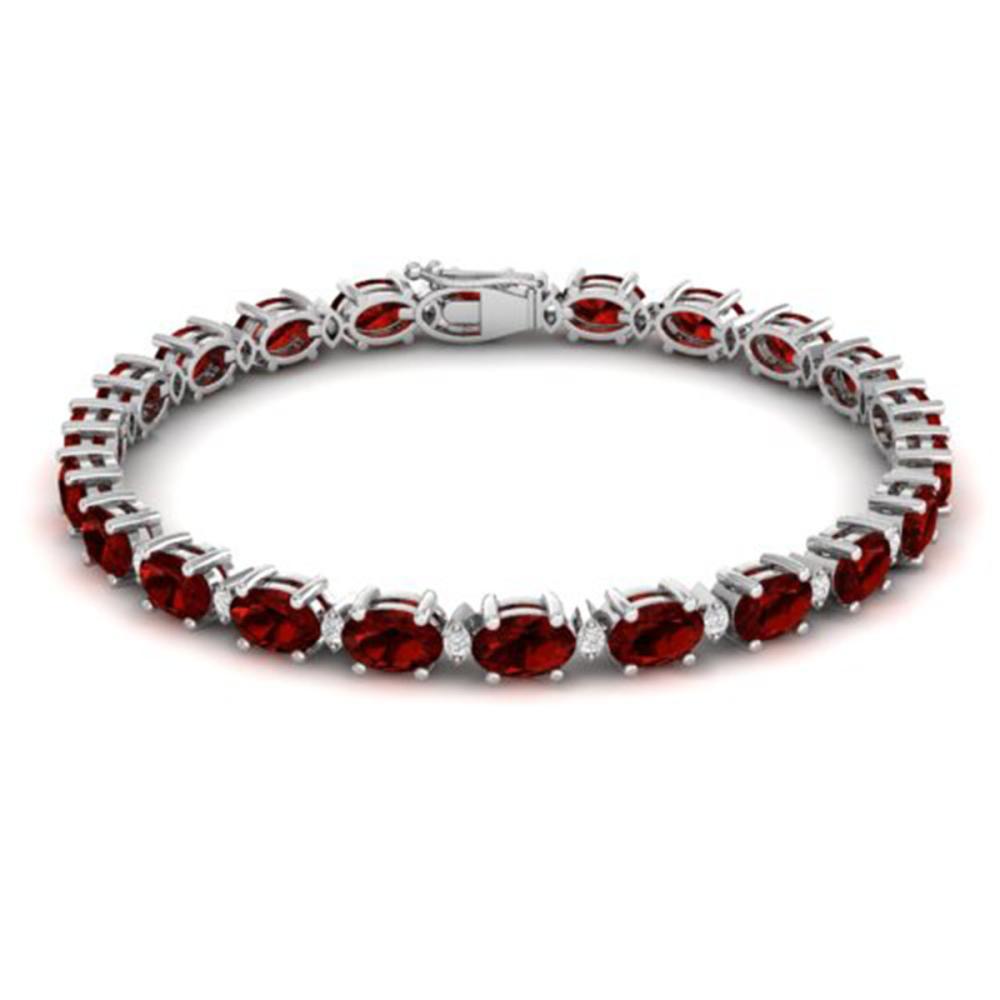 19.7 ctw Garnet & VS/SI Diamond Eternity Bracelet 10K White Gold - REF-98H2M - SKU:29368
